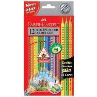 Lápis de cor grip triangular 12 cores Faber Castell