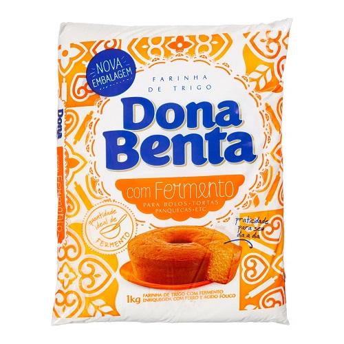Farinha de trigo com fermento Dona Benta 1kg.
