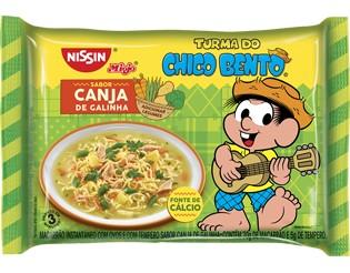 Macarrão instantâneo canja de galinha Chico Bento Nissin 85g.