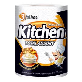 Papel toalha tripla absorção 100 folhas Kitchen