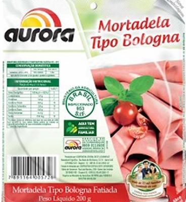 Mortadela fatiada a vácuo bologna Aurora 200g