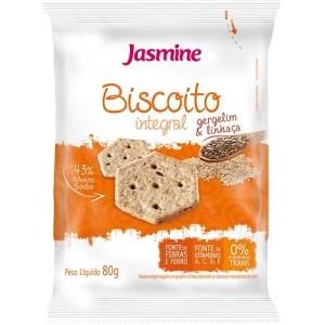 Biscoito snack integral salgado de gergelim e linhaça Jasmine 80g