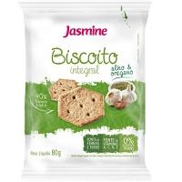 Biscoito snack  integral salgado de alho e orégano Jasmine 80g