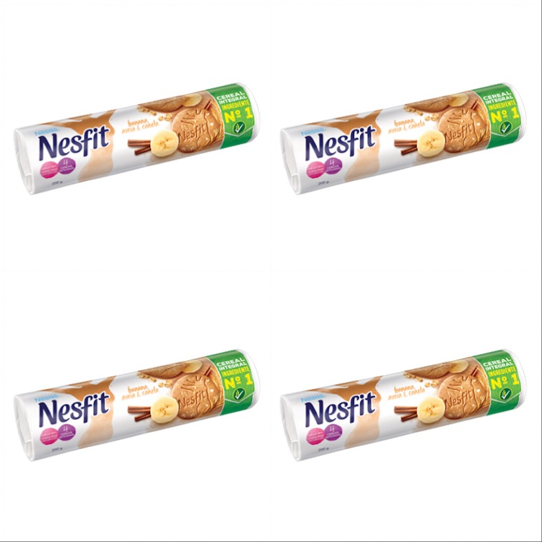 Biscoito banana, aveia e canela Nesfit Nestlé ( pacote c/ 4 unid)