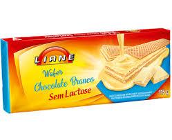 Wafer sabor chocolate branco sem lactose Liane 115g