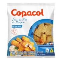 Iscas de filé de tilápia temperados e empanados Copacol 300g