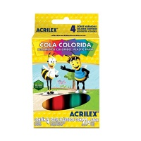 Cola colorida Acrilex (4 unidades)