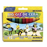 Big giz de cera triangular Acrilex 12 cores