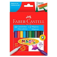 Canetinha hidrográfica 10 cores +2 mágicas Faber Castell