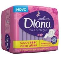 Absorvente Diana Fluxo Normal Cobertura Suave com abas Active 8x1